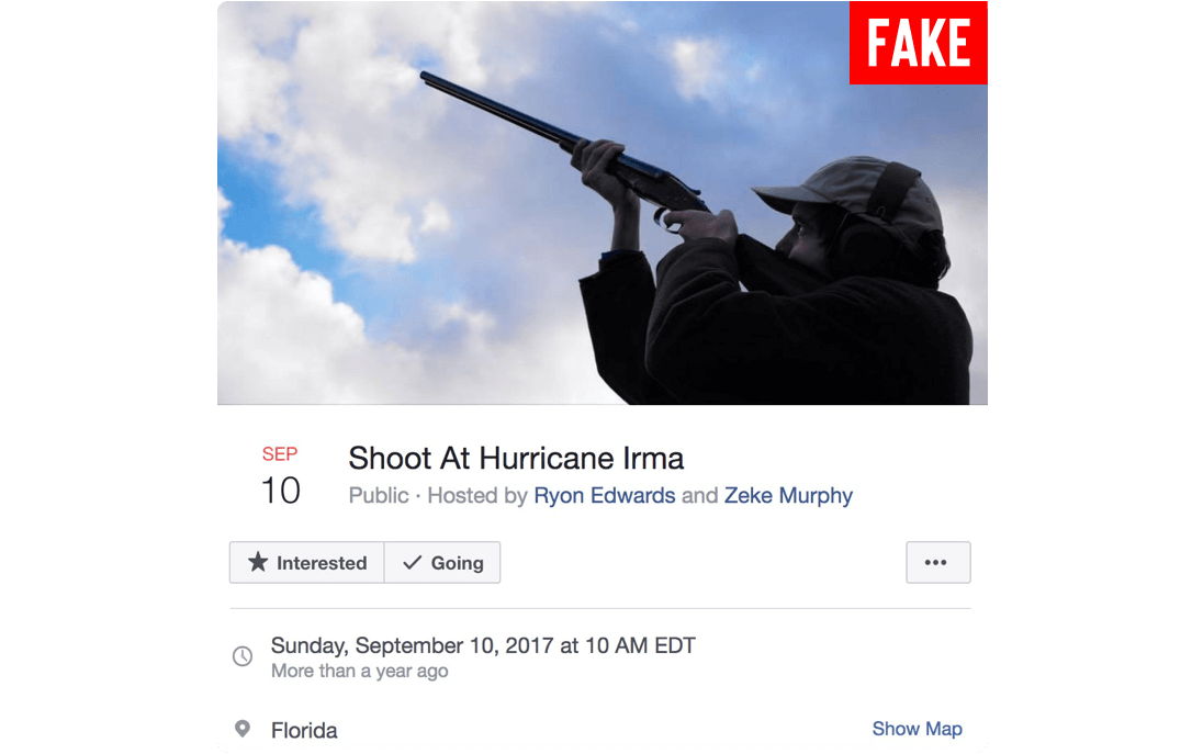 Facebook event labeled as fake. Event is titled Shoot at Hurricane Irma. Post includes a date and time for the event.