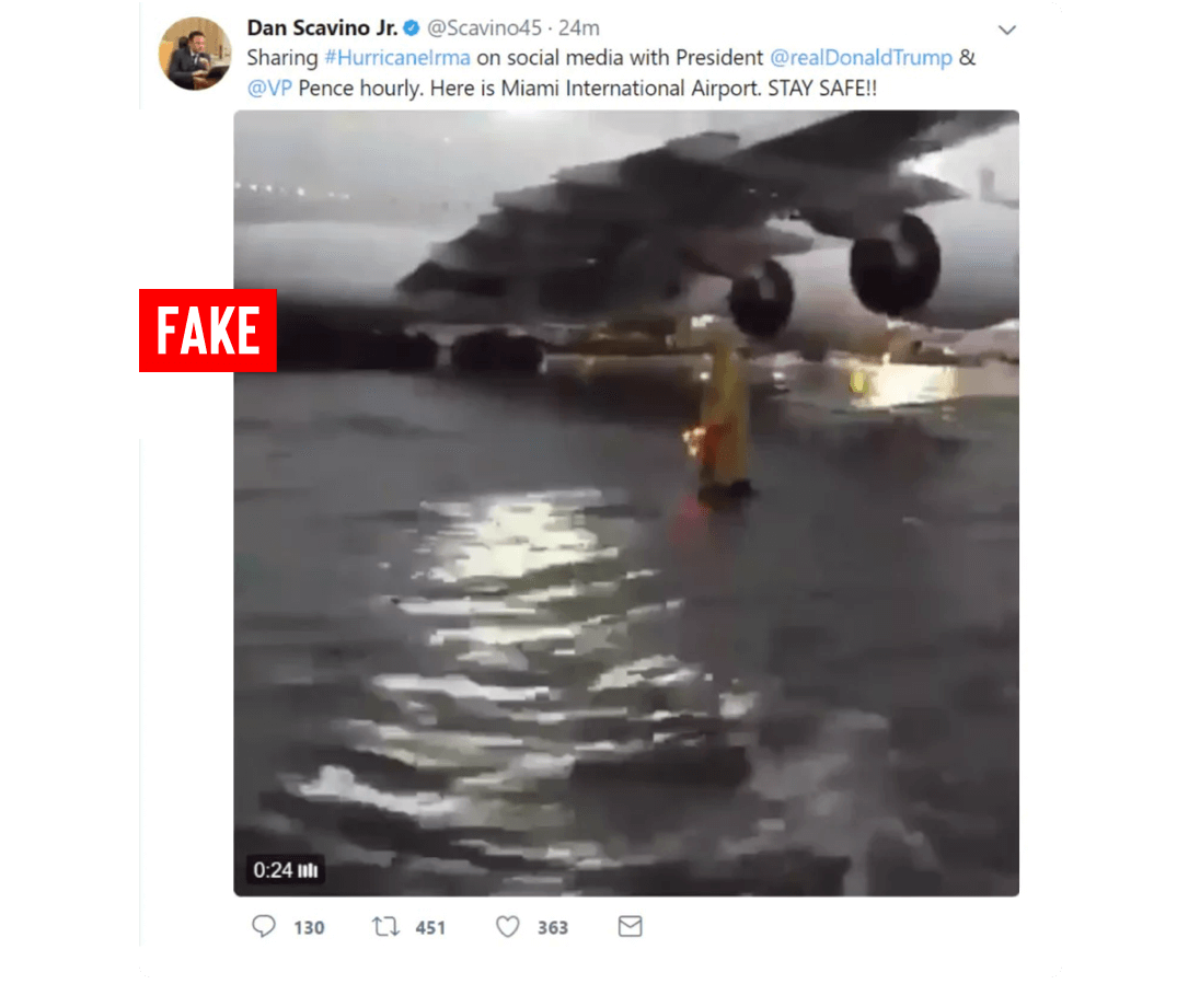 Twitter post by Dan Scavino Jr. official account labeled as fake. Post features an image of an airplane wing of a grounded airplane with substantial water on the ground. Post readings sharing hashtag lmra on social media with at real Donald Trump and at V P Pence hourly. Here is Miami international airport. Stay safe!