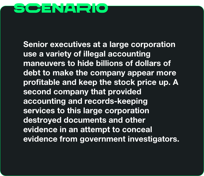 Senior executives at a large corporation use a variety of illegal accounting meneuvers to hide billions of dollars of debt to make the company appear more profitable and keep the stock price