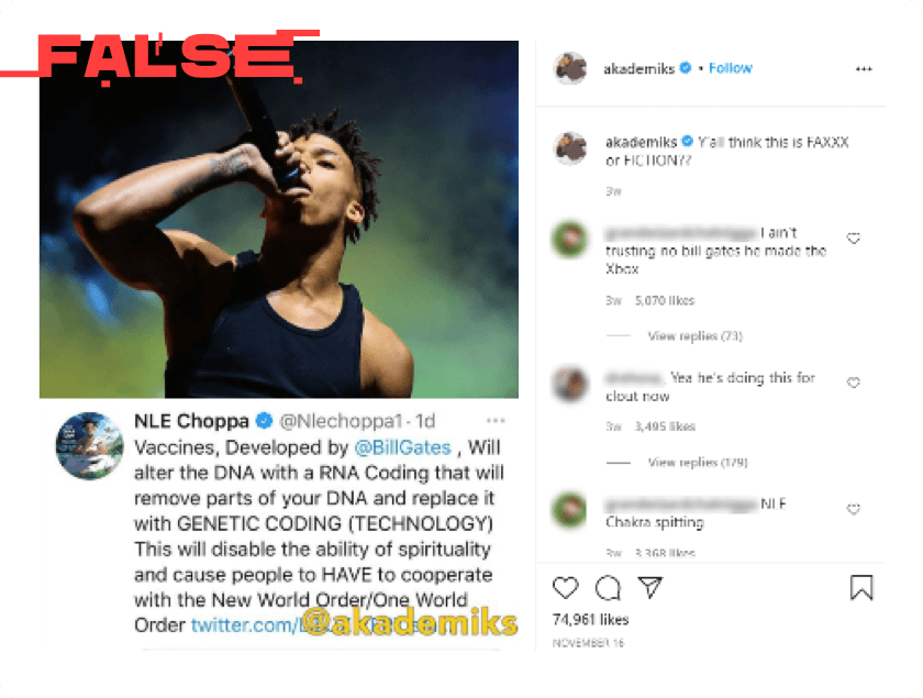 Twitter post by NLE Choppa labeled as false. Image of rapper singing. Tweet text by NLE Choppa account reads vaccines developed by @BillGates will after the DNA with a RNA Coding that will re